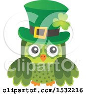 Clipart Of A Green St Patricks Day Owl Royalty Free Vector Illustration by visekart