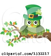Clipart Of A Green St Patricks Day Owl On A Branch Royalty Free Vector Illustration