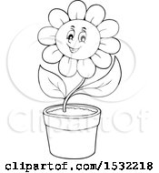 Clipart Of A Black And White Potted Cheerful Daisy Flower Character Royalty Free Vector Illustration