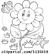 Clipart Of A Black And White Butterfly And Daisy Flower Character Royalty Free Vector Illustration