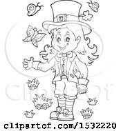 Clipart Of A Black And White St Patricks Day Female Leprechaun With Butterflies Royalty Free Vector Illustration