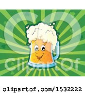 Clipart Of A St Patricks Day Beer Character Over Green Rays And Shamrocks Royalty Free Vector Illustration