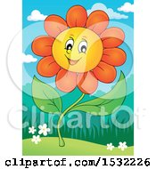 Clipart Of A Cheerful Daisy Flower Character Royalty Free Vector Illustration