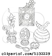 Clipart Of A Black And White Still Life Of Easter Holiday Items Royalty Free Vector Illustration