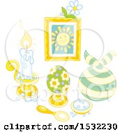 Clipart Of A Still Life Of Easter Holiday Items Royalty Free Vector Illustration