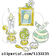 Clipart Of A Still Life Of Easter Holiday Salt A Candle Egg And Picture With Other Items Royalty Free Vector Illustration