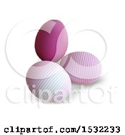 Clipart Of 3d Pink Easter Eggs On A Shaded White Background Royalty Free Vector Illustration by dero