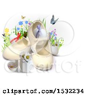 Clipart Of 3d Easter Eggs Flowers Butterflies And Baby Shoes On A Shaded White Background Royalty Free Vector Illustration