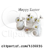 Clipart Of A Happy Easter Greeting Over 3d Eggs And Daisy Flowers On A Shaded White Background Royalty Free Vector Illustration by dero