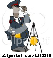 Clipart Of A Soldier Bell Ringer Saluting Royalty Free Vector Illustration