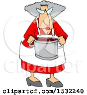 Cool Granny Cooking And Holding A Pot Of Food