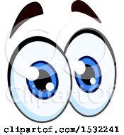 Pair Of Cartoon Eyes With Raised Eyebrows