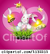 Clipart Of A White Easter Bunny With Eggs In Grass And Flying Bells On Pink Royalty Free Vector Illustration