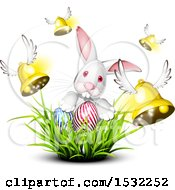 Clipart Of A White Bunny Rabbit With Easter Eggs In Grass And Flying Bells Royalty Free Vector Illustration
