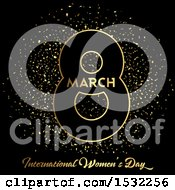 Happy Womens Day Design With Confetti On Black