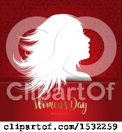 Clipart Of A Happy Womens Day Design With A Silhouetted Woman On Red Royalty Free Vector Illustration by KJ Pargeter