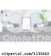 Clipart Of A 3d White Washed Wooden Surface Against A Blurred Room Royalty Free Illustration