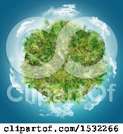 3d Grassy Planet With Clouds In Blue Sky