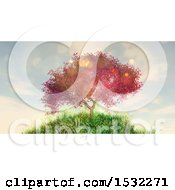 Clipart Of A 3d Cherry Tree On A Hill Royalty Free Illustration