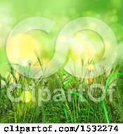 Clipart Of A 3d Green Grass Background Royalty Free Illustration