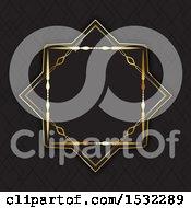 Poster, Art Print Of Golden Frame On Black