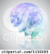 Clipart Of A Geometric Low Poly Brain And Connections On Gray Royalty Free Vector Illustration