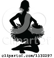 Clipart Of A Black Silhouetted Cheerleader In Action Royalty Free Vector Illustration by AtStockIllustration