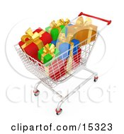 Shopping Cart Full Of Wrapped Christmas Presents In A Store Clipart Illustration Image