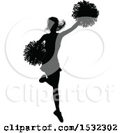 Clipart Of A Black Silhouetted Cheerleader In Action Royalty Free Vector Illustration