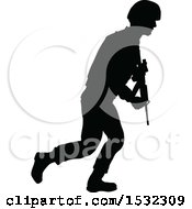 Clipart Of A Black Silhouetted Male Armed Soldier Royalty Free Vector Illustration