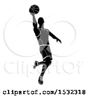 Clipart Of A Silhouetted Black And White Basketball Player Royalty Free Vector Illustration