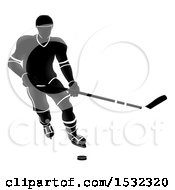 Clipart Of A Silhouetted Black And White Ice Hockey Player Royalty Free Vector Illustration