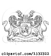 Clipart Of A Black And White Heraldic Lions Coat Of Arms Crest With A Knights Great Helm Helmet Royalty Free Vector Illustration