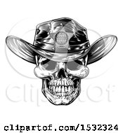 Cowboy Skull Wearing A Sheriff Hat Black And White Vintage Engraved