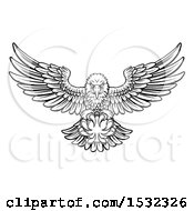 Clipart Of A Black And White Swooping American Bald Eagle With A Cricket Ball In His Talons Royalty Free Vector Illustration