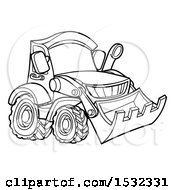 Clipart Of A Lineart Bulldozer Digger Royalty Free Vector Illustration