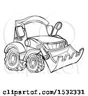 Poster, Art Print Of Lineart Bulldozer Digger