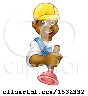 Happy Black Male Plumber Holding A Plunger Around A Sign