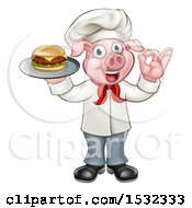 Clipart Of A Full Length Chef Pig Holding A Cheese Burger On A Tray And Gesturing Okay Royalty Free Vector Illustration