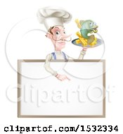 Male Chef Holding Fish And Chips On A Tray And Pointing Down Over A Menu