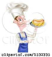 Male Chef Holding A Hot Dog And Fries On A Tray And Pointing