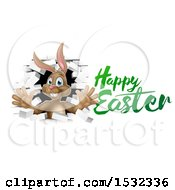 Happy Easter Greeting With A Brown Bunny Rabbit Breaking Through A White Brick Wall