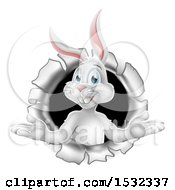 Clipart Of A Happy White Easter Bunny Rabbit Popping Out Of A Hole Royalty Free Vector Illustration
