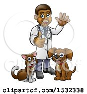 Poster, Art Print Of Black Male Veterinarian Giving A Thumb Up And Waving Standing With A Dog And Cat