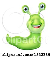 Clipart Of A Happy Green Slug Royalty Free Vector Illustration