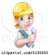 White Female Plumber Holding A Spanner Wrench Around A Sign