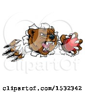 Clipart Of A Bear Mascot Slashing Through A Wall With A Cricket Ball In A Paw Royalty Free Vector Illustration