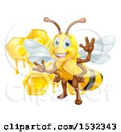 Clipart Of A Happy Bee And Honeycombs Royalty Free Vector Illustration