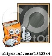 Clipart Of A Happy Orange Book Mascot Giving A Thumb Up By A Black Board Royalty Free Vector Illustration