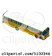 3d Yellow School Bus From Above
